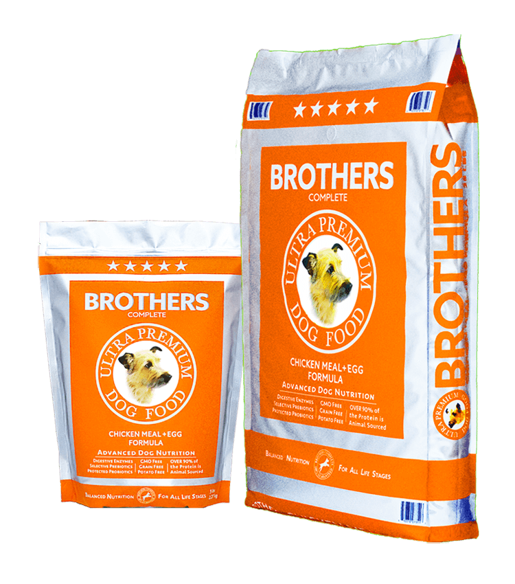 5 Star Brothers Dog Food Chicken Meal & Egg Formula.  Ultra Premium Dog Food .  There is a minimum of 40% protein (dry matter basis) in Brothers Complete Chicken & Egg Formula, and over 90% of that is animal sourced protein from Chicken Meal, Turkey Meal, and Whole Eggs.