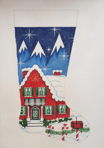 4054 Christmas House Stocking