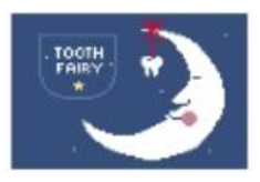 PT129 Half Moon Tooth Fairy Pillow