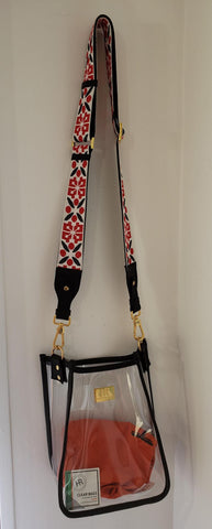 Black Zuma With Dior Trimmed Red White Guitar Strap