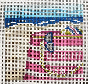 341-3 Pink Stripe Beach Tote Bethany Beach