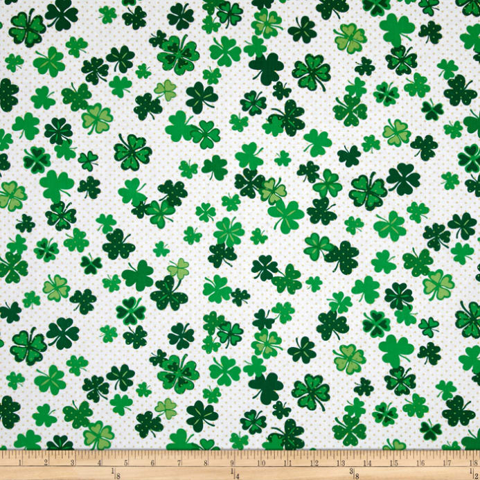 Lucky Clovers Metallic Four Leaf Clovers on White Fabric