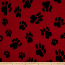 Load image into Gallery viewer, Baum Red/Black Paw Print  Fleece