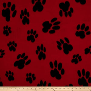 Baum Red/Black Paw Print  Fleece
