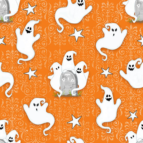 Ghostly Glow Town 1673G-33 Orange by Henry Glass Fabrics