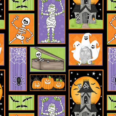Ghostly Glow Town 1675G-93 Multi by Henry Glass Fabrics