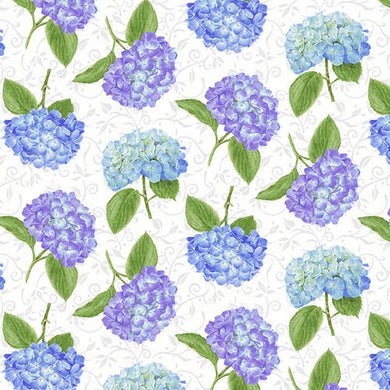 Hydrangea Birdsong White Tossed Hydrangeas by Jane Shasky for Henry Glass & Co