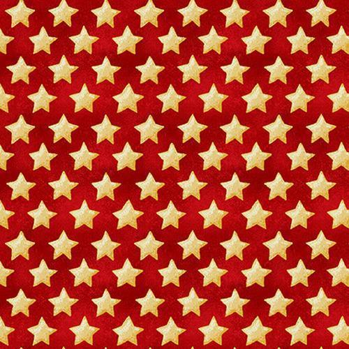 Land of the Free - Henry Glass - Patriotic fabric! Stars on Red 1835-84