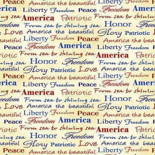 Land of the Free Tossed Words # 1836-47 Henry Glass Fabrics