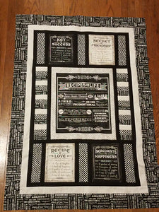 Life's Recipe Gray Inspirational Recipes Quilt Kit
