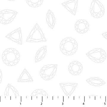 white facets cotton sewing fabric