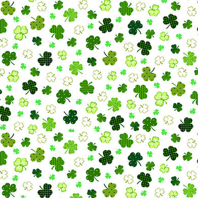Shamrocks Fabric; 2401-1; Henry Glass Fabrics; Irish Folk; St Patricks, Shamrock