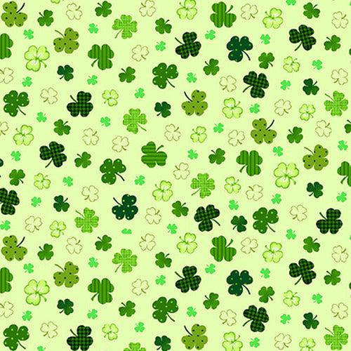 Shamrocks Fabric; 2401-66; Henry Glass Fabrics; Irish Folk; St Patricks, Shamrock
