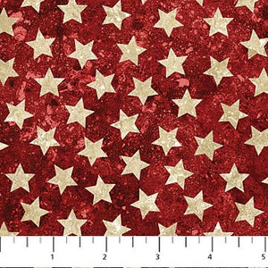 stars and stripes cotton fabric red with stars