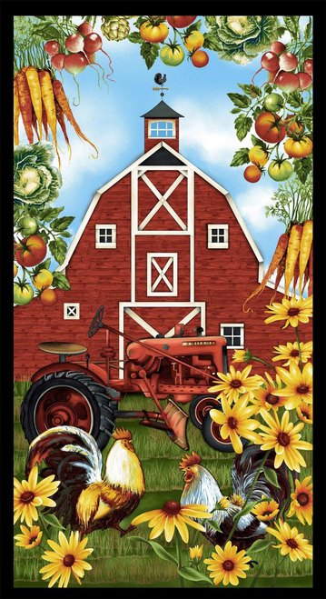 Quilt Panel Barn with Sunflowers and Tractor cotton