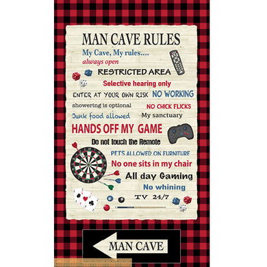 Red Man Cave Rules Panel 24in x 42in # 52410P-X