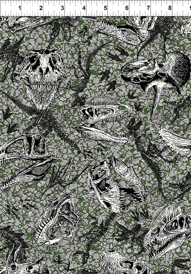 Jurassic In the Beginning Fabrics Gray Dinosaur Fossils -JURASSIC 5JUR1