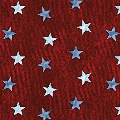 American Rustic Stars on Denim Red Fabri