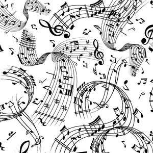 Swirling Music White/Black By Kanvas Studio