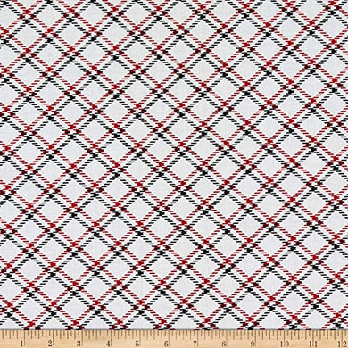 Kanvas Dotty For Scottie Dottie For Scottie Plaid White Quilt Fabric  0789109B