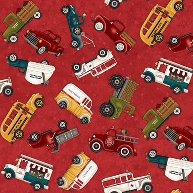 Papa's Old Truck Fabric by Henry Glass 9157-88 Red