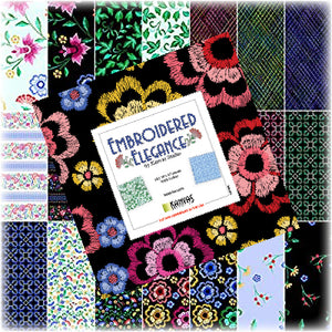 Kanvas Studio Embroidered Elegance 10X10 Pack 42 10-inch Squares Layer Cake Benartex