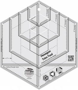 Creative Grids Hexagon Trim Tool Quilt Ruler # CGRJAW4