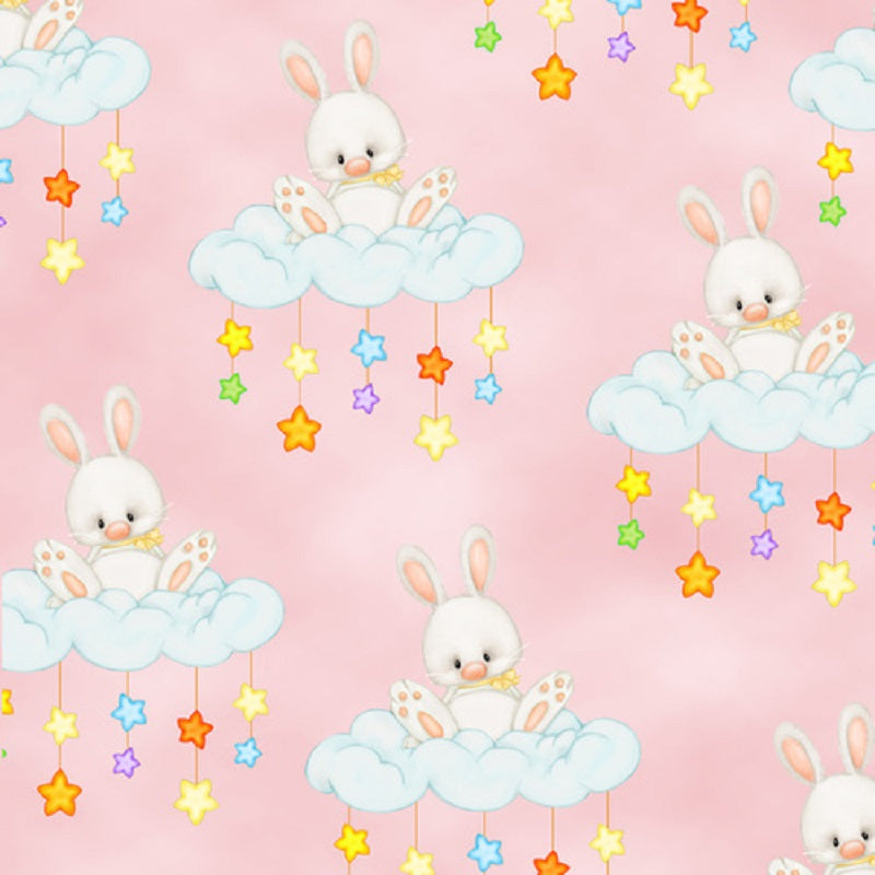 Comfy Flannel Bunny on a Cloud N-0962 – 22 Pink