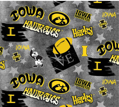 Iowa Hawkeye Graffiti Cotton Allover- 1235 by Sykel