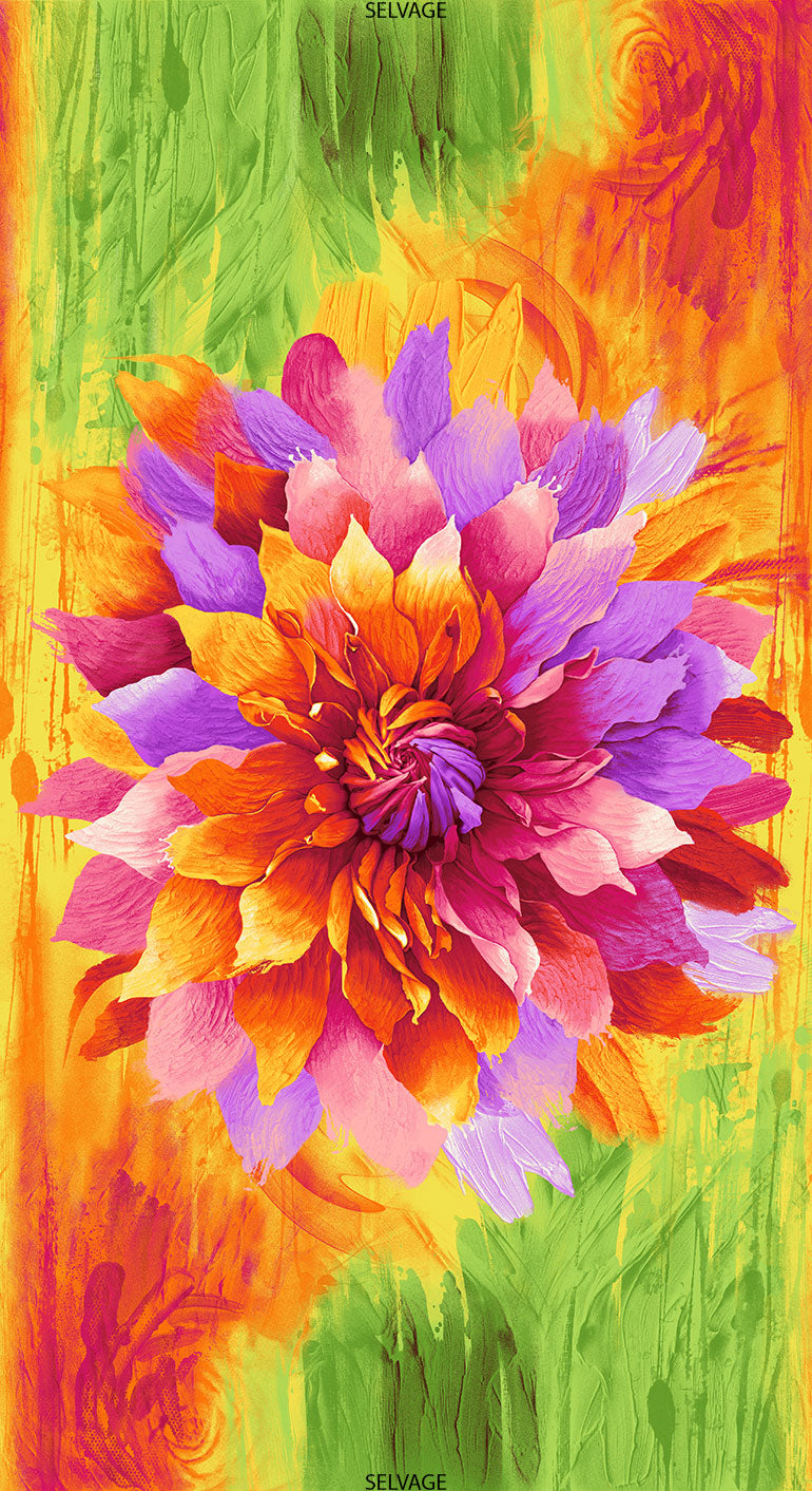 Bright Flower Cotton Quilt Panel