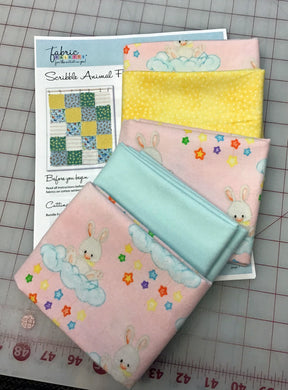 Floating Bunnies Flannel - 10 Fat Quarter Kit with Rag Quilt Pattern