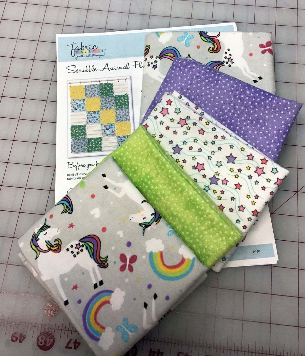 Unicorn Flannel - 10 Fat Quarter Kit with Rag Quilt Pattern