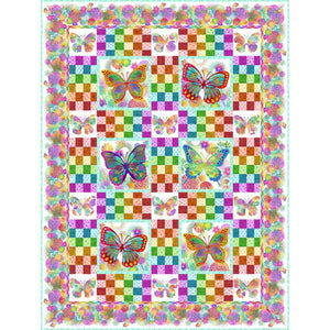 IN THE BEGINNING FABRICS JASON YENTER UNUSUAL GARDEN WHITE BUTTERFLY QUILT KIT