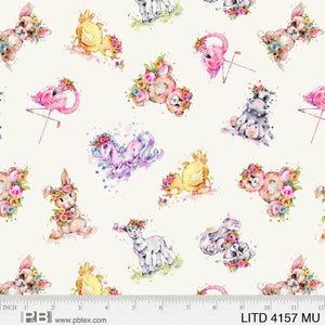 P & B Textiles - Little Darlings - Toss Animals LITD 4157 MU