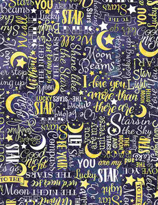 I Love You To The Moon and Back White Stars Text  C8352-Yellow