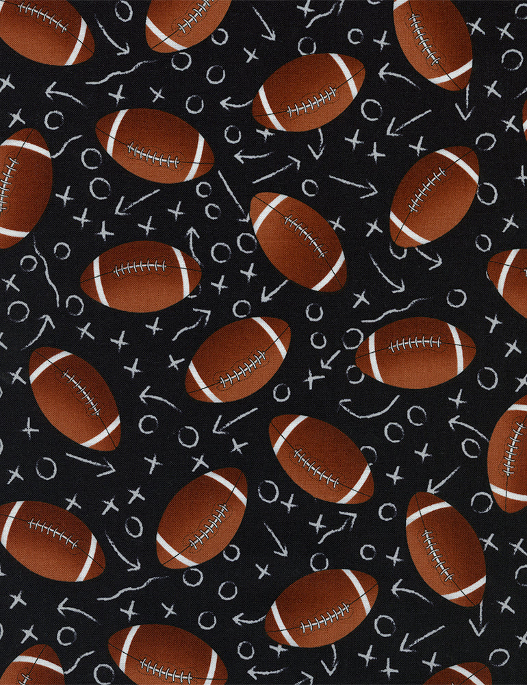Footballs on Chalkboard from Timeless Treasures 100% Cotton Fabric- c1228