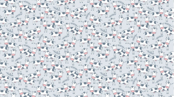 Dear Stella Flannel - Cloudy Blue Background with Cows