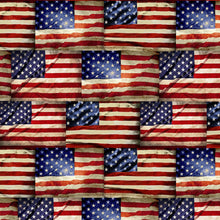 Load image into Gallery viewer, Timeless Treasures Fabric  WE THE PEOPLE ROWS OF HISTORIC AMERICAN FLAGS C8360