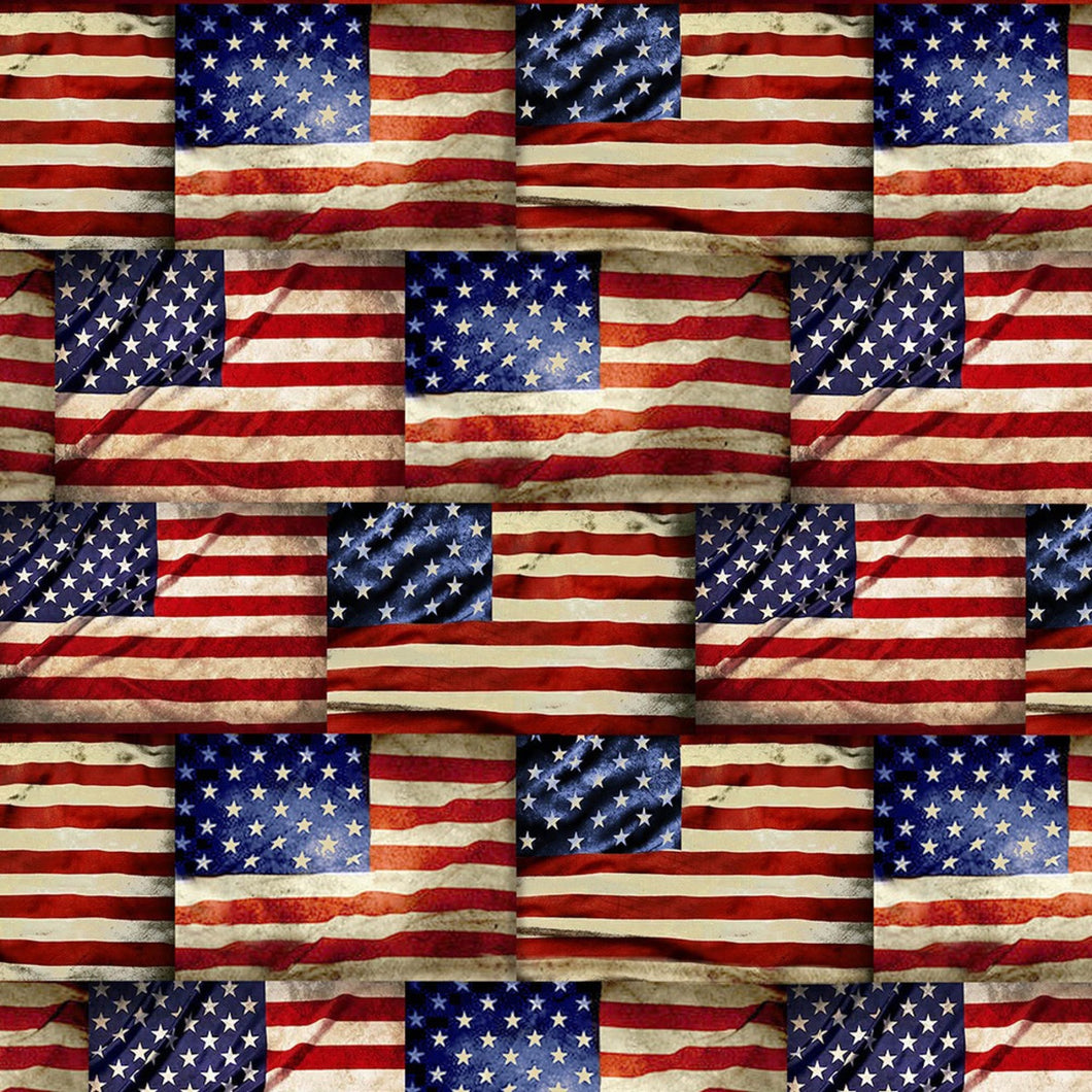 Timeless Treasures Fabric  WE THE PEOPLE ROWS OF HISTORIC AMERICAN FLAGS C8360