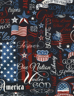 Navy Patriotic Cotton Quilting Fabric