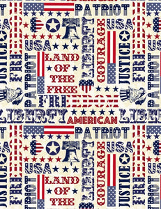 Timeless Treasures Patriotic Typography
