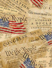 Load image into Gallery viewer, Timeless Treasures Fabric  WE THE PEOPLE CONSTITUTION FLAG COLLAGE  C8320