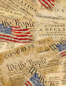 Timeless Treasures Fabric  WE THE PEOPLE CONSTITUTION FLAG COLLAGE  C8320