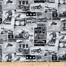 Load image into Gallery viewer, Timeless Treasures Vintage Motorcycles News Fabric - ERA C3646