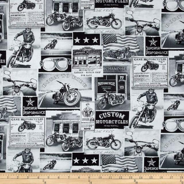 Timeless Treasures Vintage Motorcycles News Fabric - ERA C3646