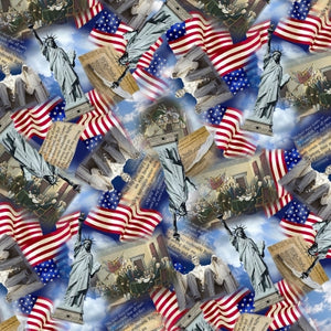 Timeless Treasures Fabric  WE THE PEOPLE DECLARATION INDEPENDENCE MONUMENT COLLAGE  C8322