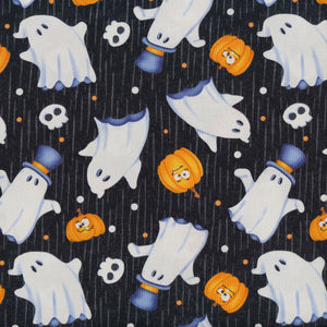 Glow Ghosts Tossed Ghost in Black by Shelly Comiskey for Henry Glass Quilting Cotton Fabric HG-9605G-99 Black