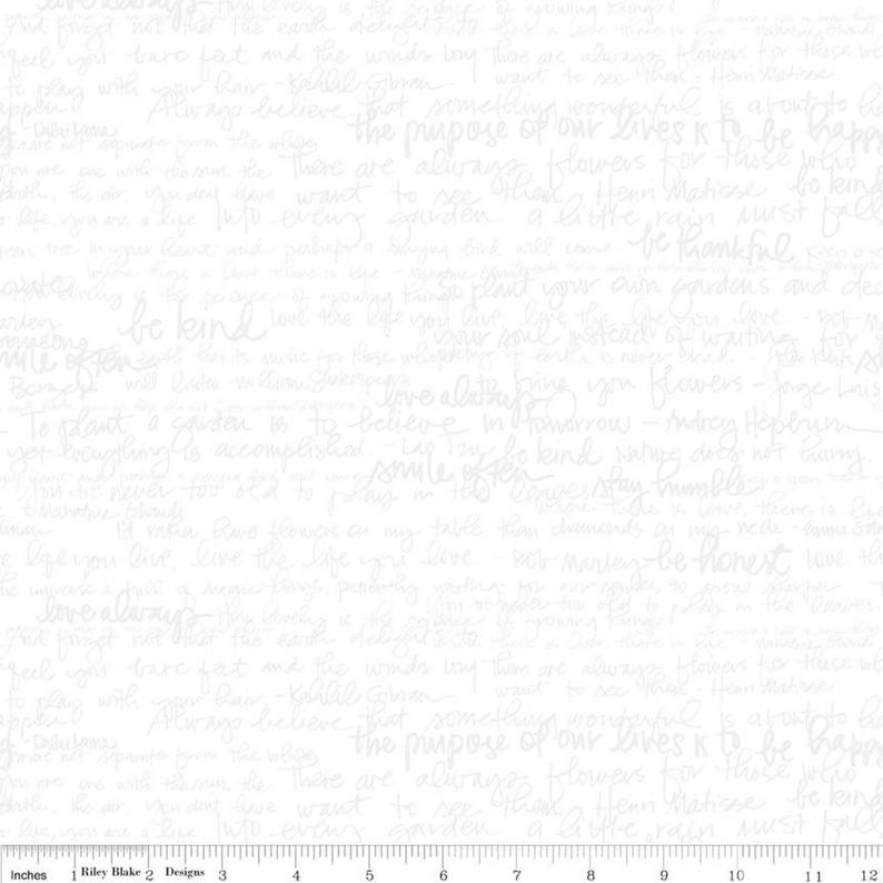 Tone on Tone Text Fabric - Riley Blake Designs C217-WHITE