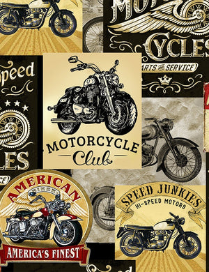 Fabric Timeless Treasures Packed Motorcycle Signs Fun-C8049-Multi