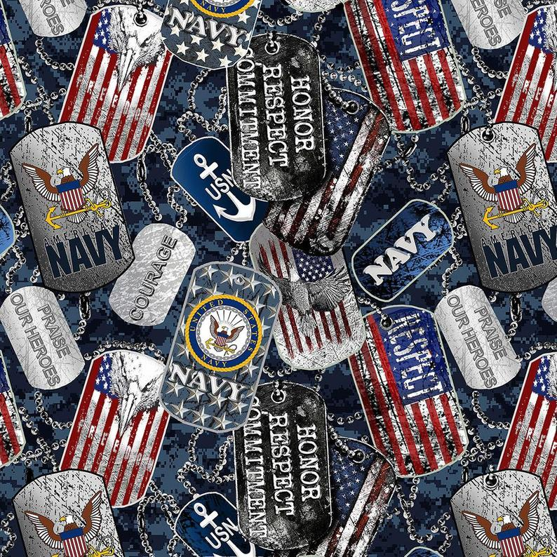Military Dogtags Navy Fabric / Military Fabric / Sykel 1254-N